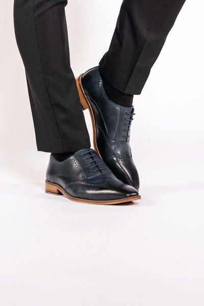 CARSON - Navy Wingtip Brogue Shoe