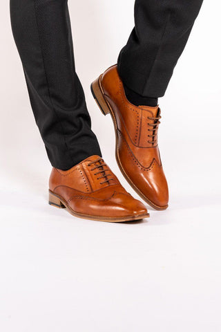 CARSON - Mid Tan Wingtip Brogue Shoe