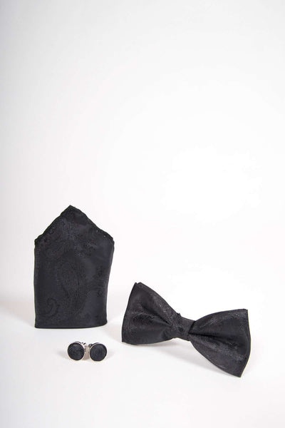 TS PAISLEY - Black Paisley Bow Tie Set Including Bow Tie Cufflink and Pocket Square