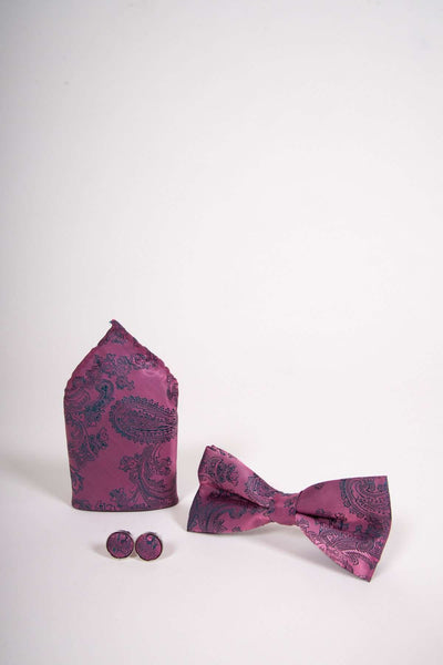 TS PAISLEY - Pink Paisley Bow Tie Set Including Bow Tie Cufflink and Pocket Square