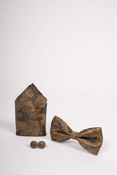 TS PAISLEY - Tan Paisley Bow Tie Set Including Bow Tie Cufflink and Pocket Square