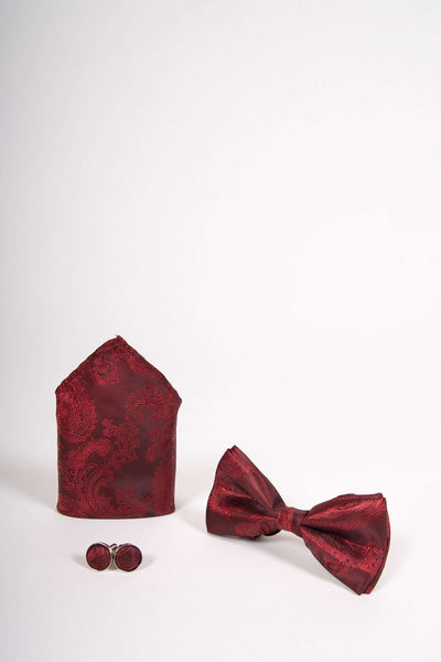 TS PAISLEY - Wine Paisley Bow Tie Set Including Bow Tie Cufflink and Pocket Square