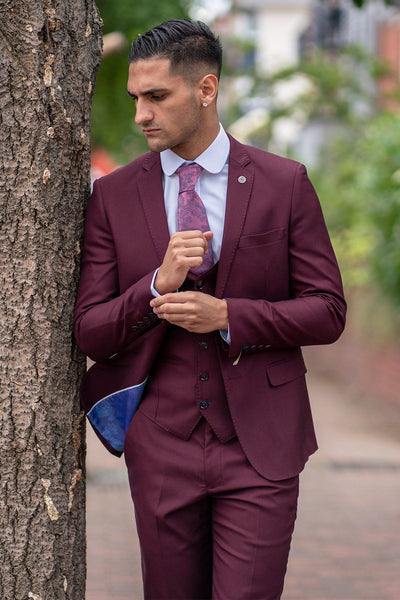 DANNY - Wine Three Piece Suit With Single Breasted Waistcoat