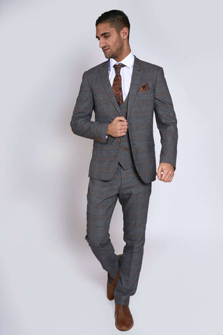 JENSON - Grey Check Suit With Double Breasted Waistcoat