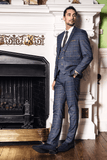 JENSON - Marine Navy Check Suit With Double Breasted Waistcoat