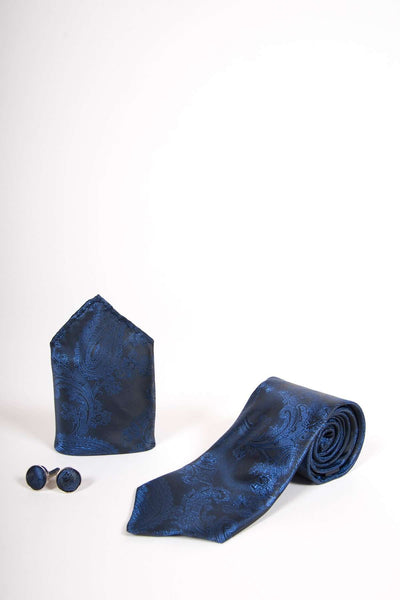 TS PAISLEY - Navy Paisley Tie Set Including Tie Cufflink and Pocket Square