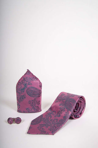 TS PAISLEY - Pink Paisley Tie Set Including Tie Cufflink and Pocket Square