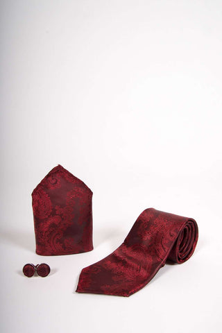 TS PAISLEY - Wine Paisley Tie Set Including Tie Cufflink and Pocket Square