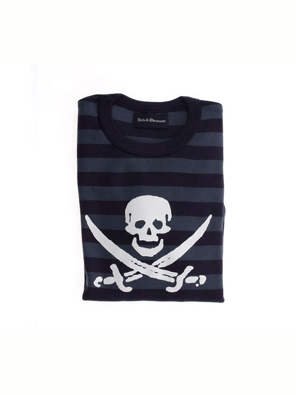 Bob & Blossom Skull French Blue & Navy Breton Long Sleeve Top - MAMAKA Shop