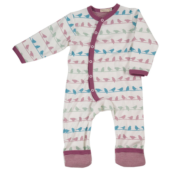 Pigeon Organics long multi-colour silhouette romper - birds Lavender
