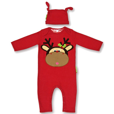 Olive & Moss Maximilian the Moose Romper Long - Red