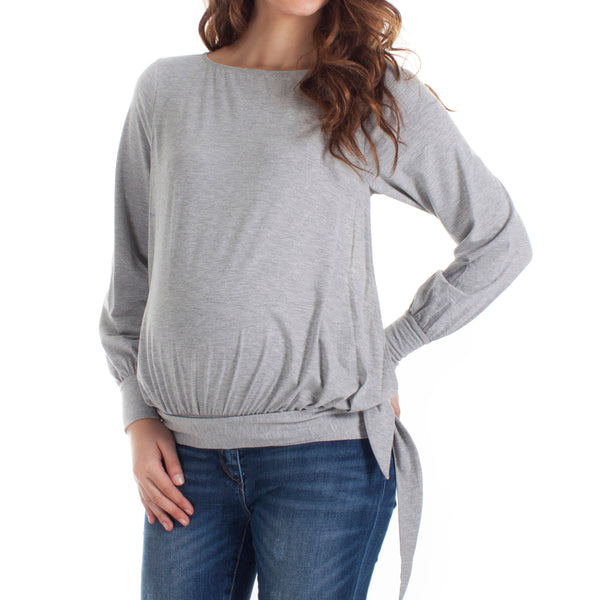 Mamaka HipTie nursing top LS - Grey - MAMAKA Shop