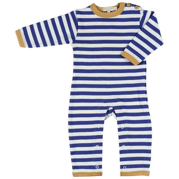 Organics For Kids Breton Striped Romper - Long - Blue Yellow - MAMAKA Shop