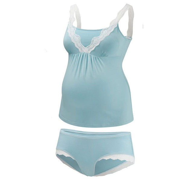 Amoralia Lace Trim maternity camisole & brief set - Aqua - MAMAKA Shop