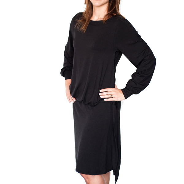 Mamaka HipTie nursing dress LS - Black - MAMAKA Shop