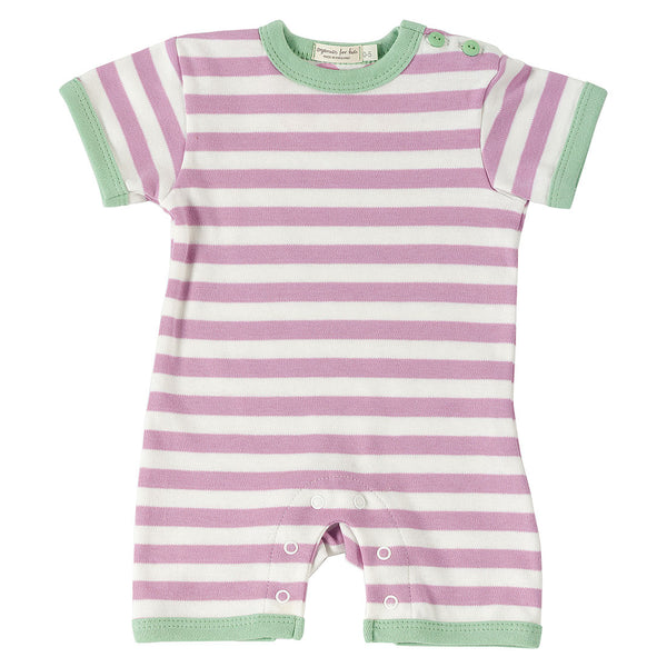 Pigeon Organics Nautical stripes romper short - Pink