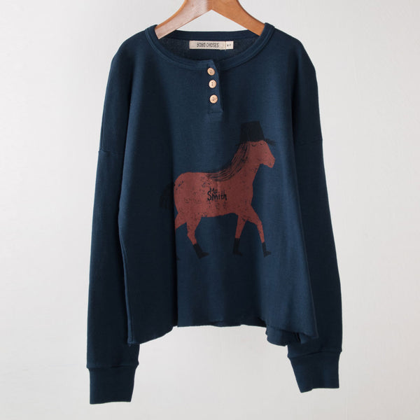 Bobo Choses LS t-shirt buttons horse