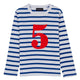 Bob & Blossom breton striped number t-shirt - Blue