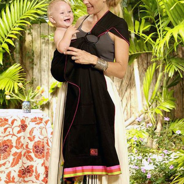 Oopa Black Pique with Ice Cream Stripes baby sling