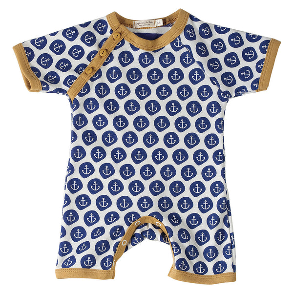 Pigeon Organics nautical romper short - Blue