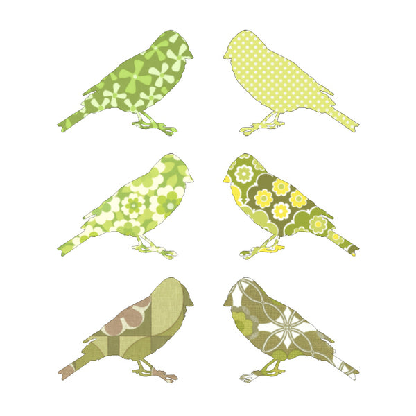 Inke handmade wallpaper Birds - Green - MAMAKA Shop