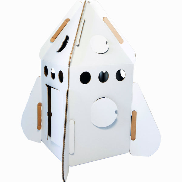Kidsonroof Rocket cardboard playhouse - White - MAMAKA Shop