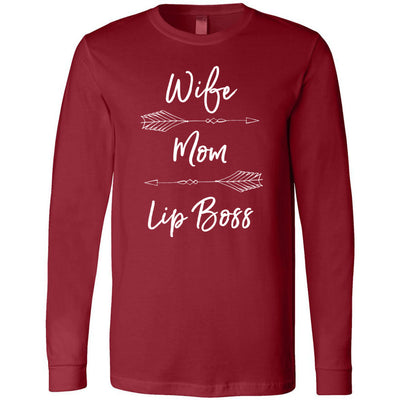 Wife Mom Lip Boss (arrows) Long Sleeve Tee Unisex Canvas Brand T-shirt - 6 colors available PLUS Size XS-2XL MADE IN THE USA