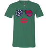 Patriotic Stars & Stripes Sunglasses & Lips - Bella & Canvas Unisex V-neck Jersey T-Shirt - 9 Colors Available Plus Size XS-3XL - MADE IN THE USA