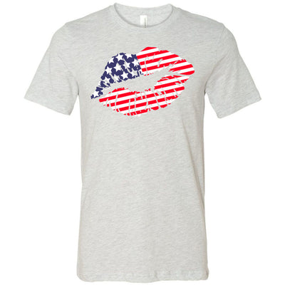 American Flag Patriotic Lips Lipstick Kiss Print - Bella & Canvas - O-neck Unisex Short Sleeve Jersey Tee - 12 Colors Available Plus Size XS-4XL - MADE IN THE USA