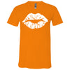 Lipstick Kiss Lips - Bella & Canvas Unisex V-neck Jersey T-Shirt - 12 Colors Available Plus Size XS-3XL - MADE IN THE USA