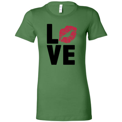 LOVE Lips Lipstick Kiss Print - Bella + Canvas - Women's Short Sleeve Feminine T-shirt - 12 Colors Available Plus Size S-2XL - MADE IN THE USA