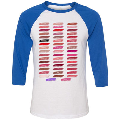 Lipsense 50 Shades Lip Color Swatches Tee - Unisex Three-Quarter Sleeve Baseball T-Shirt - Bella & Canvas - 16 Colors Available Plus Size XS-2XL - MADE IN THE USA
