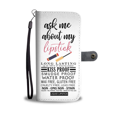 Ask me about my Lipstick Kissproof & Lipsense 50 Lip Color Chart Swatches Cell Phone Wallet Case