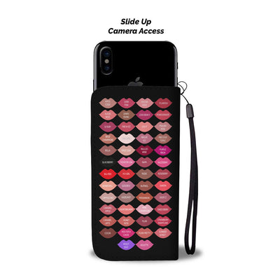 Ask me about my Lipstick & Lipsense 50 Lip Color Chart Swatches & KISSES on BLACK - Cell Phone Wallet Case