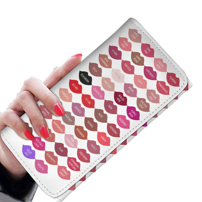 Lipsense 50 Lip Color Swatches Lipstick KISSES Womens Wallet Purse