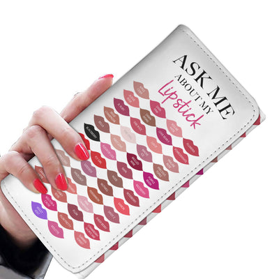 Ask Me About My Lipstick Lipsense 50 Lip Color Swatches Lipstick Kisses Women's Wallet Clutch Purse