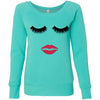 Lips & Lashes (strawberry shortcake) - Bella + Canvas - Women's Long Sleeve Sponge Fleece Wideneck Sweatshirt 5 Colors Available Size S-2XL - MADE IN THE USA