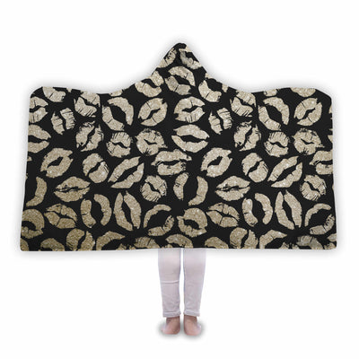 Gold Glitter Lips Kisses on Black Soft Sherpa Hooded Blanket