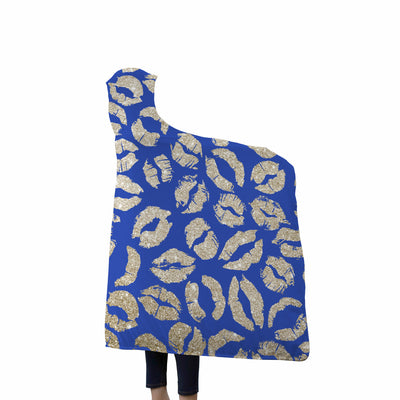 Gold Glitter Lips Kisses on Blue Soft Sherpa Hooded Blanket