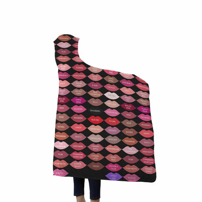 Lipsense Lipstick 50 Lip Color Chart Kiss Swatches Kisses on Black Soft Sherpa Hooded Blanket