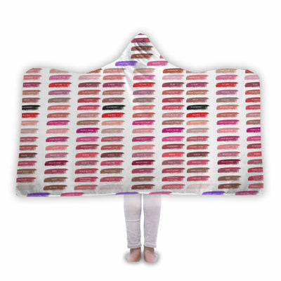 Lipsense Lipstick 50 Lip Color Chart Swatches on White Soft Sherpa Hooded Blanket