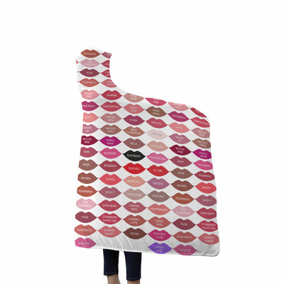 Lipsense Lipstick 50 Lip Color Chart Kiss Swatches Kisses on White Soft Sherpa Hooded Blanket