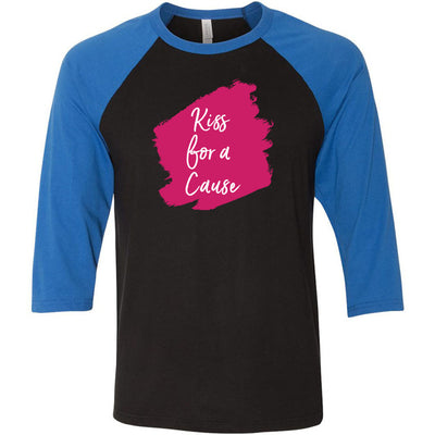 Lipsense KISS FOR A CAUSE Lip Color Lipstick Swipe - Unisex Three-Quarter Sleeve Baseball T-Shirt - Bella & Canvas - 16 Colors Available Plus Size XS-2XL - MADE IN THE USA