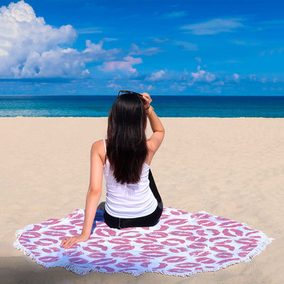 Fleur de Lisa Pink Lips Lipstick Kiss Lip on White Round Beach Towel