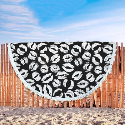 White Lips Lipstick Kiss Lip on Black Round Beach Towel