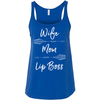 Wife Mom Lip Boss (arrows) Ladies Relaxed Jersey Tank Top Women - Bella & Canvas - 8 colors available - PLUS Size S-2XL MADE IN THE USA