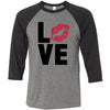 LOVE Lips Lipstick Kiss Print - Unisex Three-Quarter Sleeve Baseball T-Shirt - Bella & Canvas - 16 Colors Available Plus Size XS-2XL - MADE IN THE USA