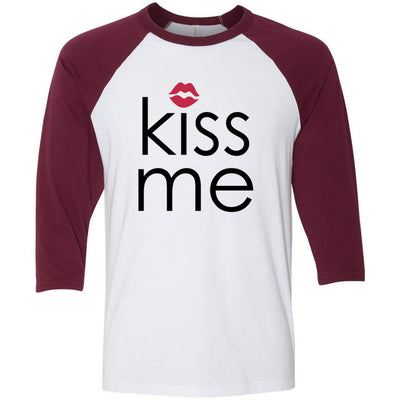 Kiss me (red lips) Unisex Three-Quarter Sleeve Baseball T-Shirt - Bella & Canvas - 16 Colors Available Plus Size XS-2XL - MADE IN THE USA