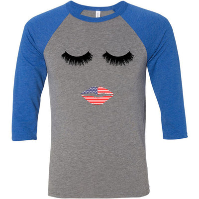 Lips & Lashes USA Patriotic Flag Lips - Unisex Three-Quarter Sleeve Baseball T-Shirt - Bella & Canvas - 16 Colors Available Plus Size XS-2XL - MADE IN THE USA