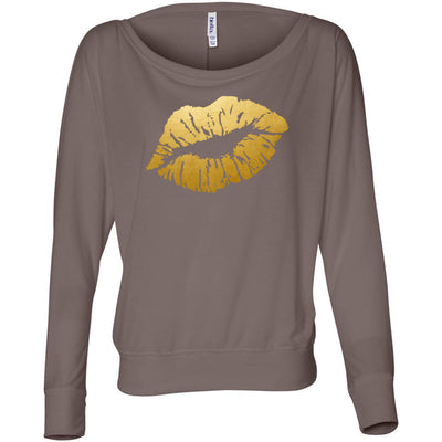 Lipstick Kiss Lips Print Gold - Off the Shoulder Long sleeve Flowy Feminine Wide Neck Tee - Bella Brand Shirt - 8 Colors Available Plus Size XS-2XL - MADE IN THE USA